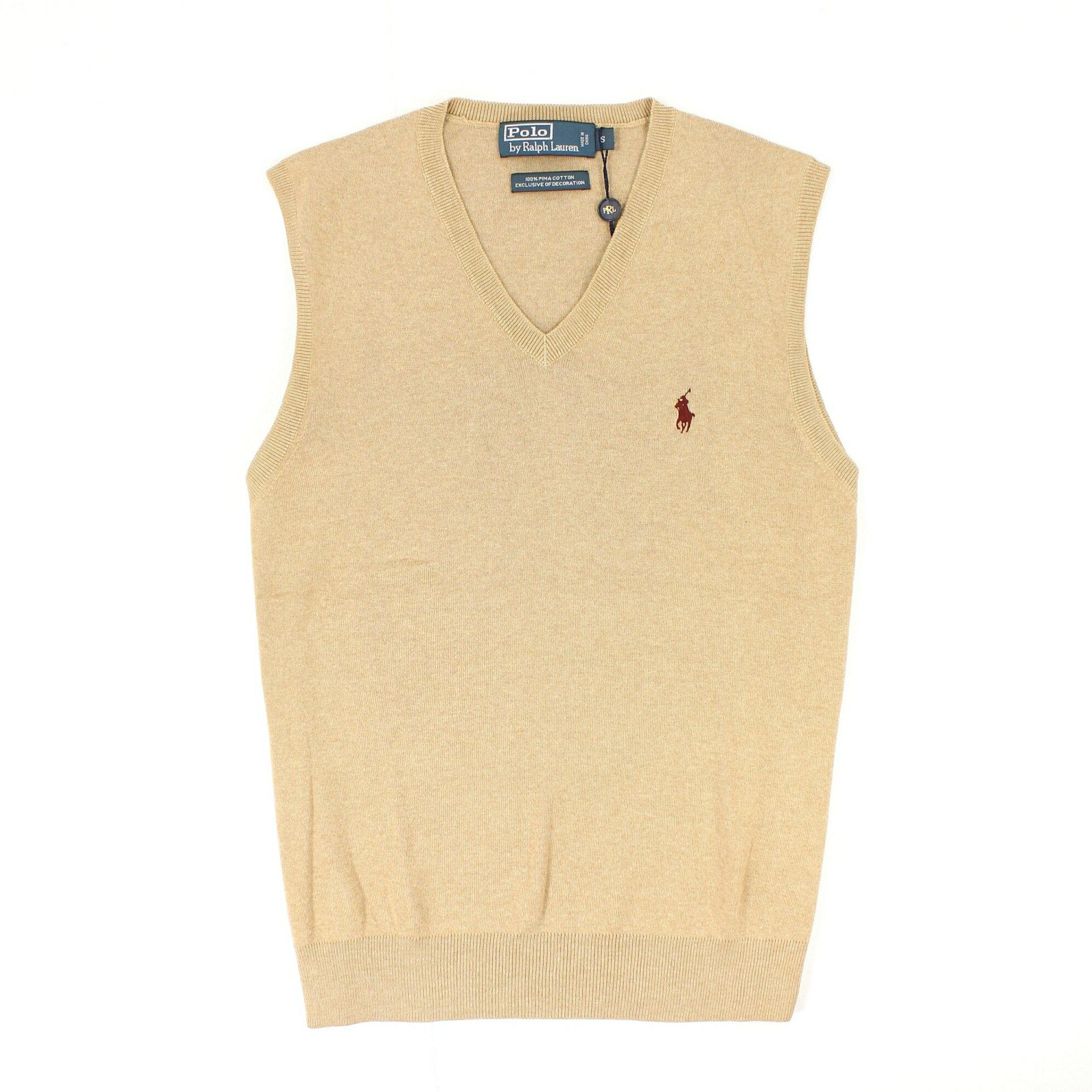 美國百分百【全新真品】Ralph Lauren 背心 RL 針織衫 線衫 上衣 Polo 小馬 駝 V領 純棉 男 S M號