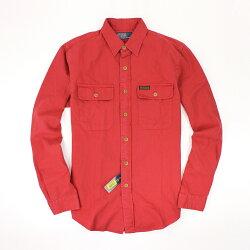 美國百分百【全新真品】Ralph Lauren 襯衫 RL 長袖 休閒 上衣 Polo 小馬 紅 復古 口袋 素面 男 S M號
