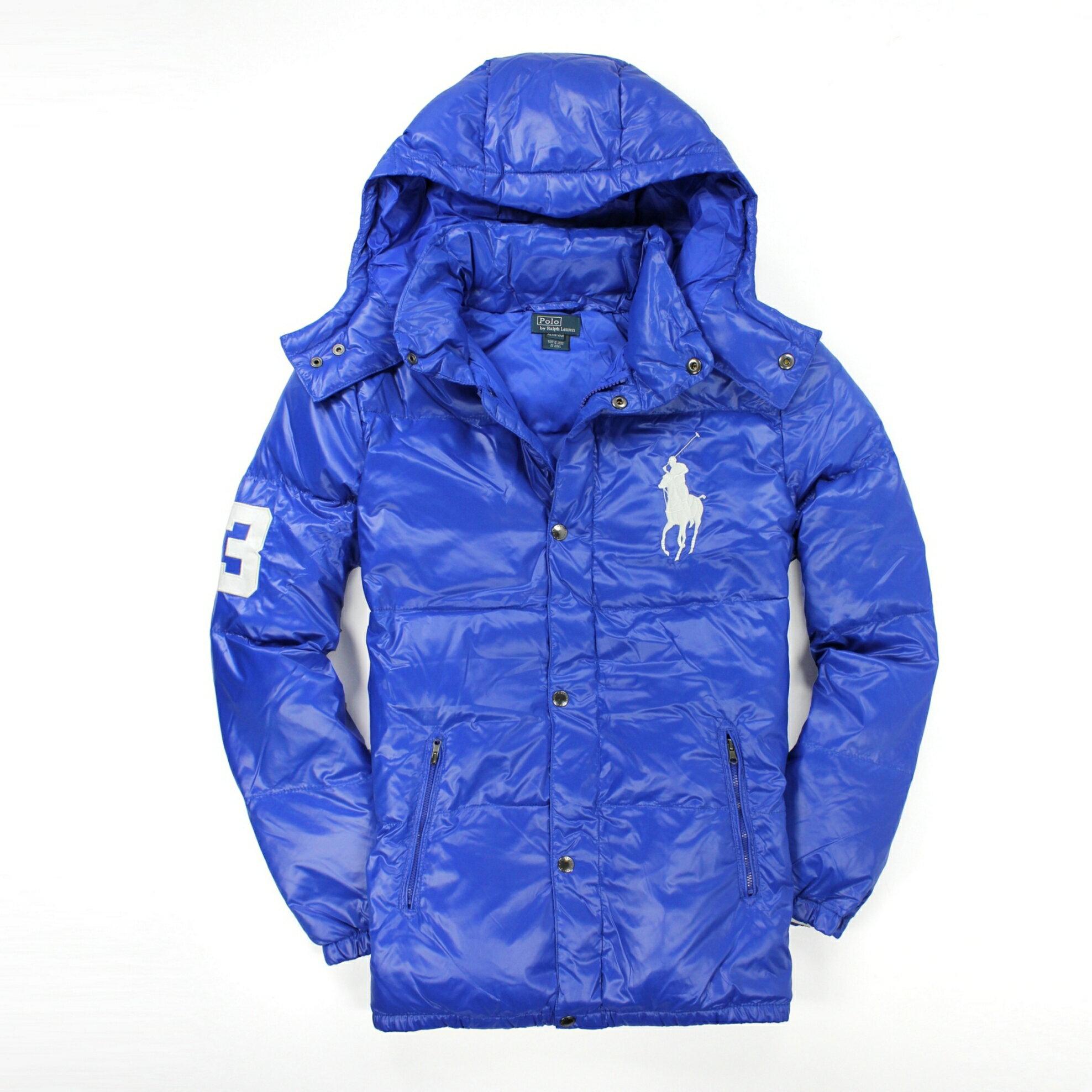 美國百分百【全新真品】Ralph Lauren 外套 RL 連帽外套 夾克 羽絨外套 Polo 大馬 輕巧 寶藍 S E028
