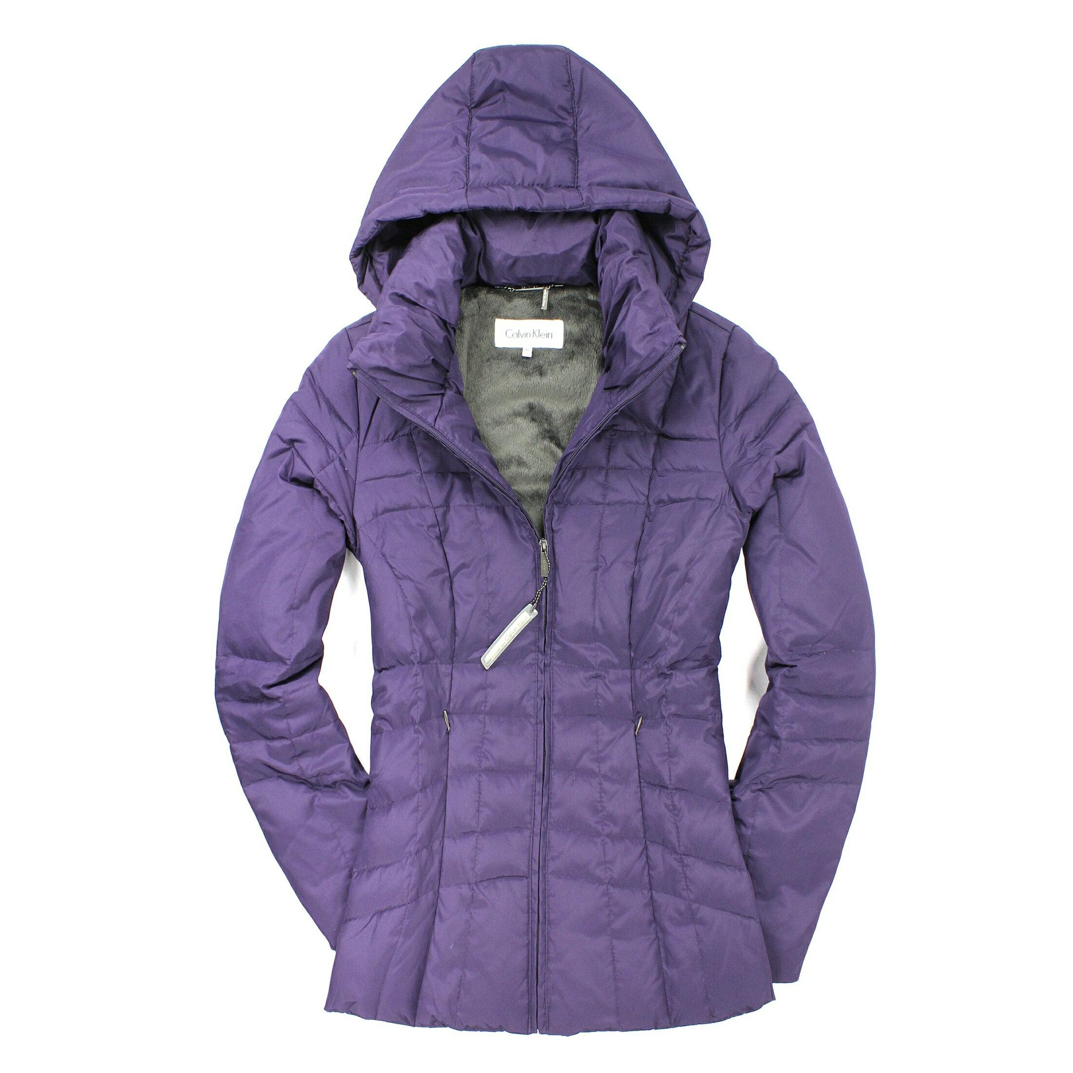 美國百分百【全新真品】Calvin Klein 外套 CK 羽絨外套 夾克 連帽 紫色 腰身 輕巧 女衣 XS號 B927