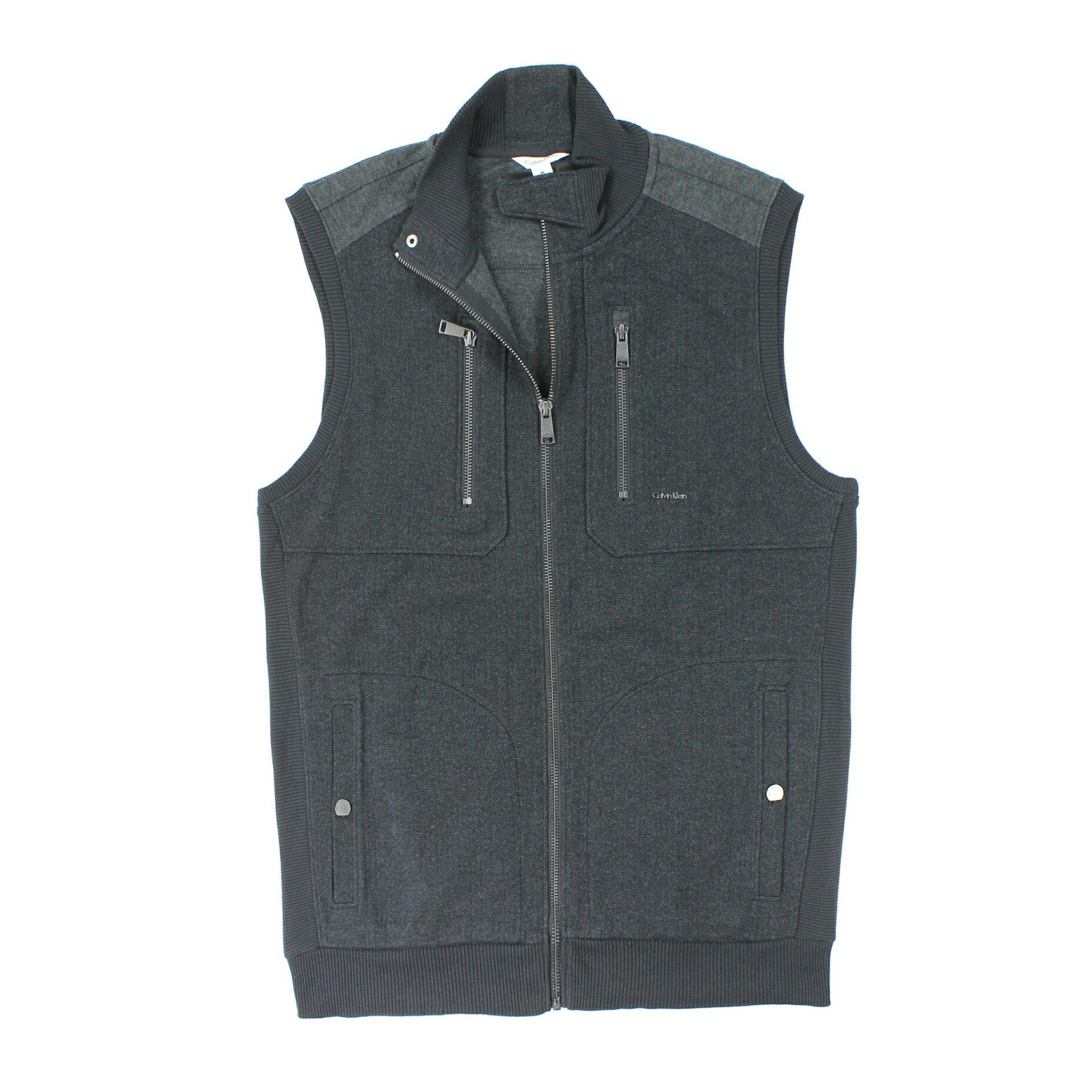 美國百分百【全新真品】Calvin Klein 背心 CK 上衣 針織 外套 灰 素面 拉鏈 純棉 男衣 M號 E022