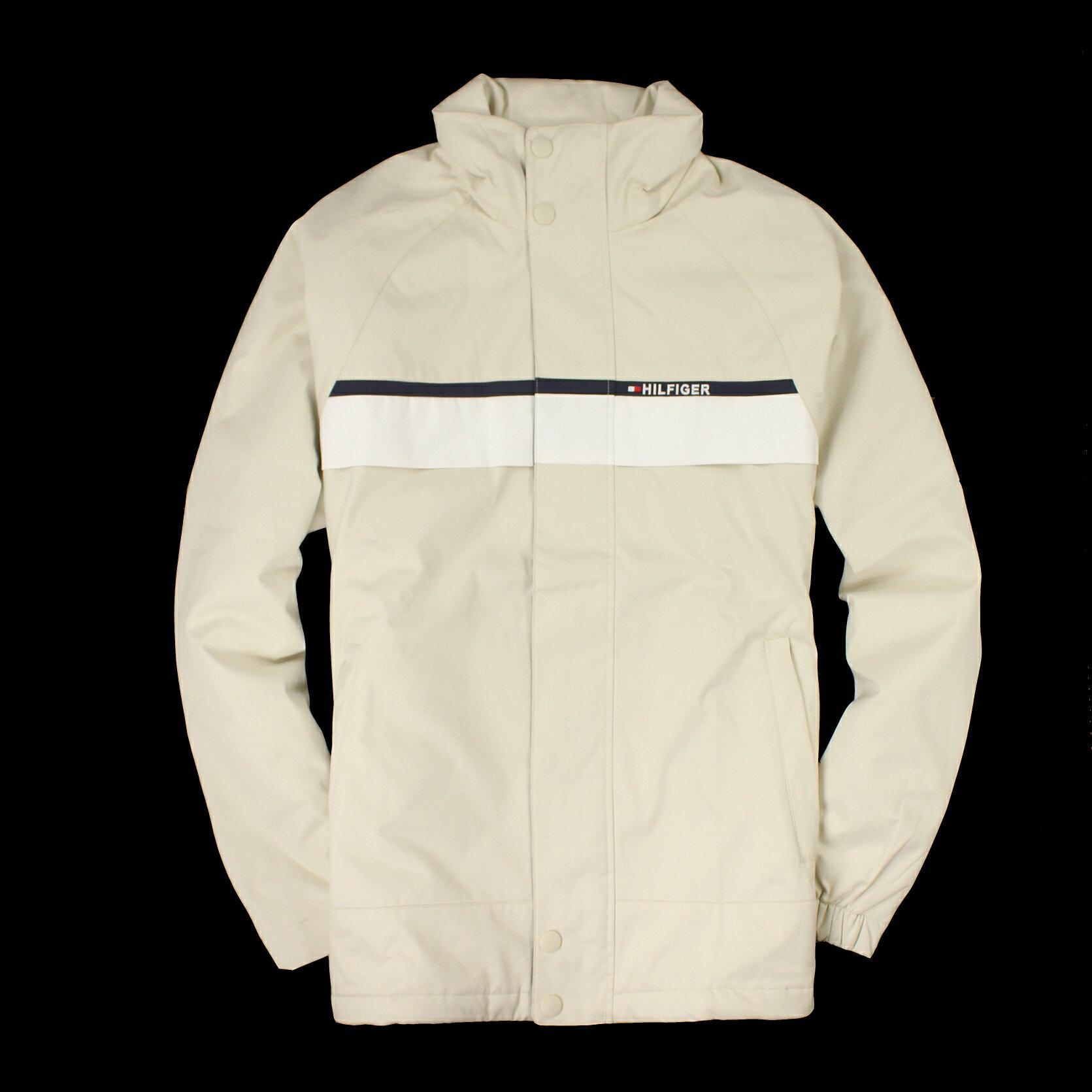美國百分百【全新真品】Tommy Hilfiger 外套 TH 夾克 連帽外套 鋪棉 風衣 米色 Logo 男 S號 B999