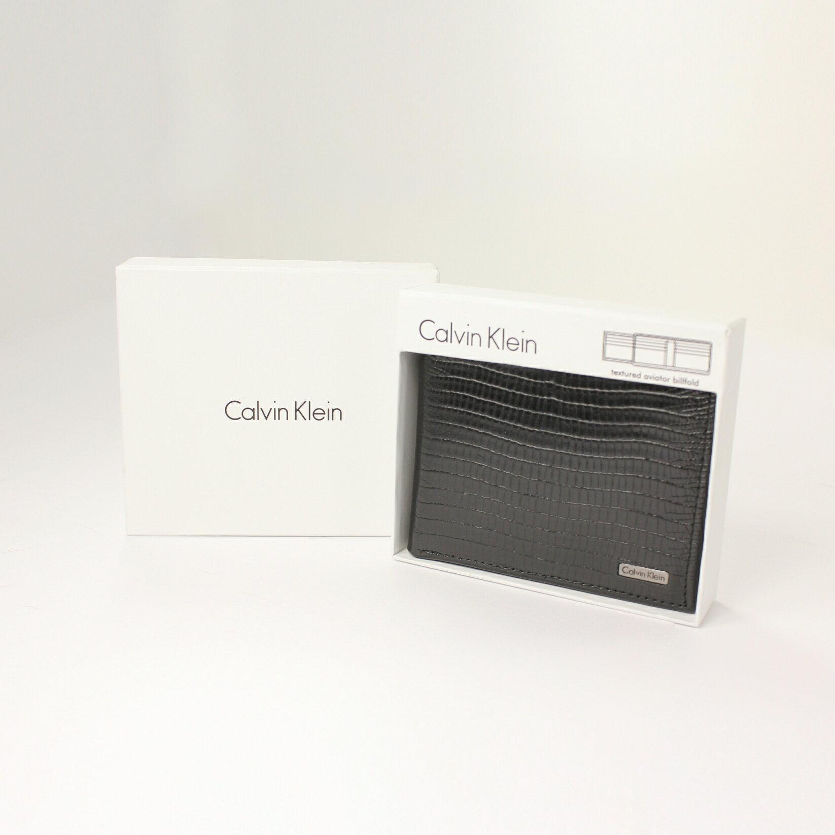 美國百分百【全新真品】Calvin Klein 皮夾 CK 短夾 黑 鱷魚皮 真皮 三折 皮革 質感 鈔票 男 B361