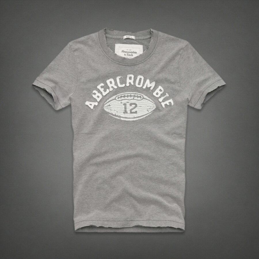 美國百分百【全新真品】Abercrombie & Fitch T恤 AF 短袖 T-shirt 上衣 麋鹿 灰 橄欖球 復古 刺繡 男 S
