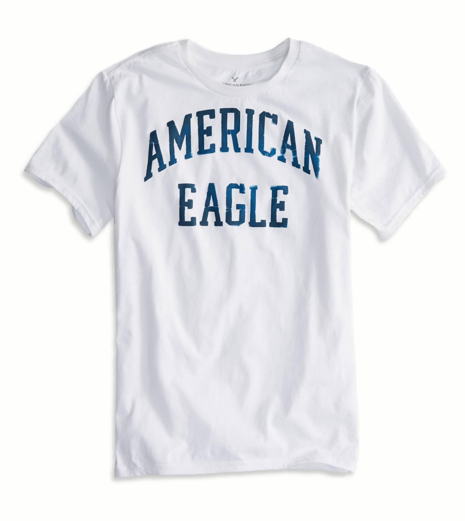 美國百分百【全新真品】American Eagle T恤 AE 短袖 上衣 T-shirt 老鷹 白 文字 圓領 男 XS S號