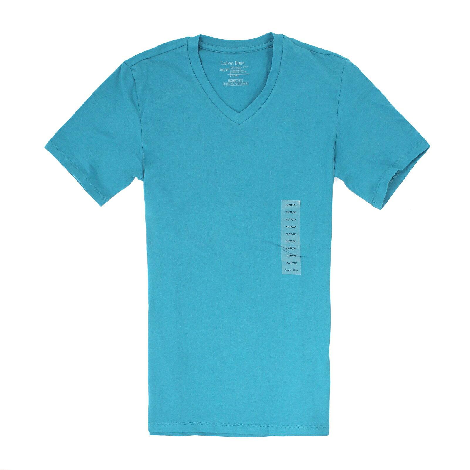 美國百分百【全新真品】Calvin Klein T恤 CK 短袖 上衣 T-shirt 短T 湖水綠 素面 V領 大尺 男 XXS XL