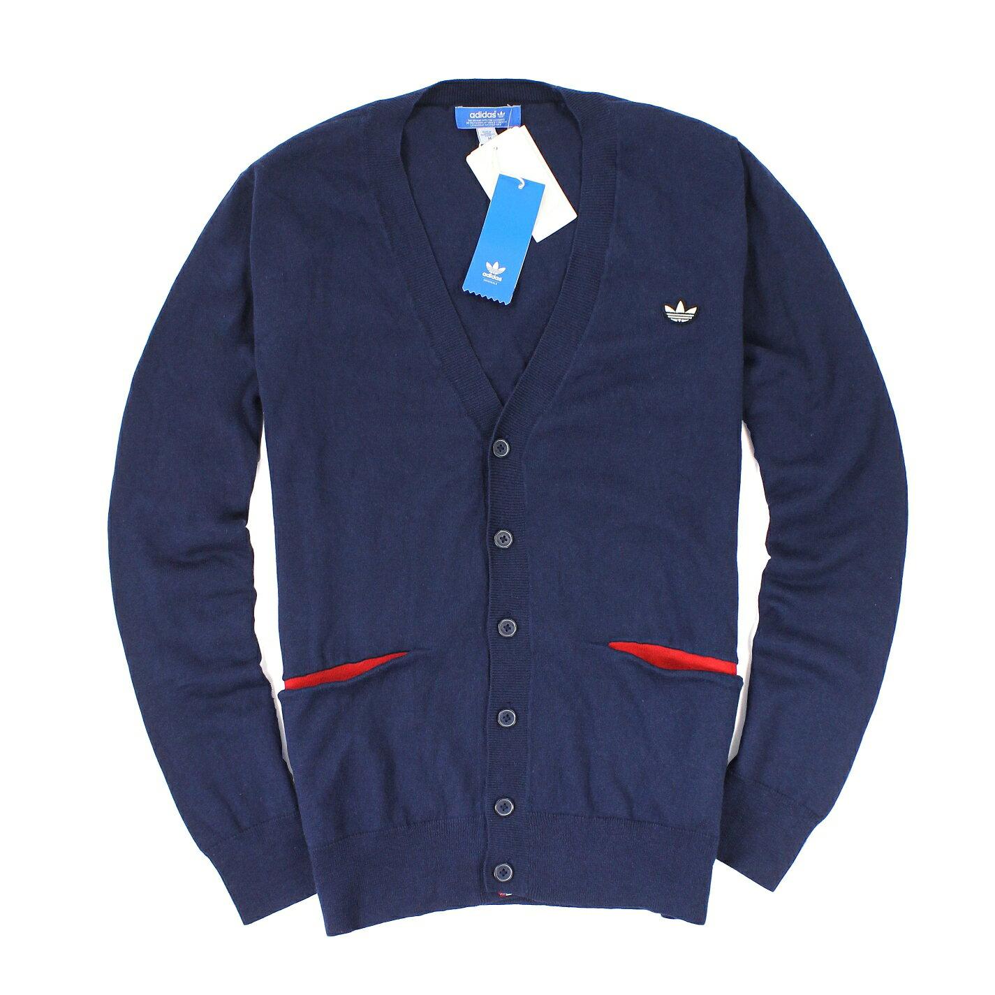 美國百分百【全新真品】Adidas 針織衫 線衫 外套 罩衫 上衣 愛迪達 深藍 三葉草 羊毛 口袋 男 M A239
