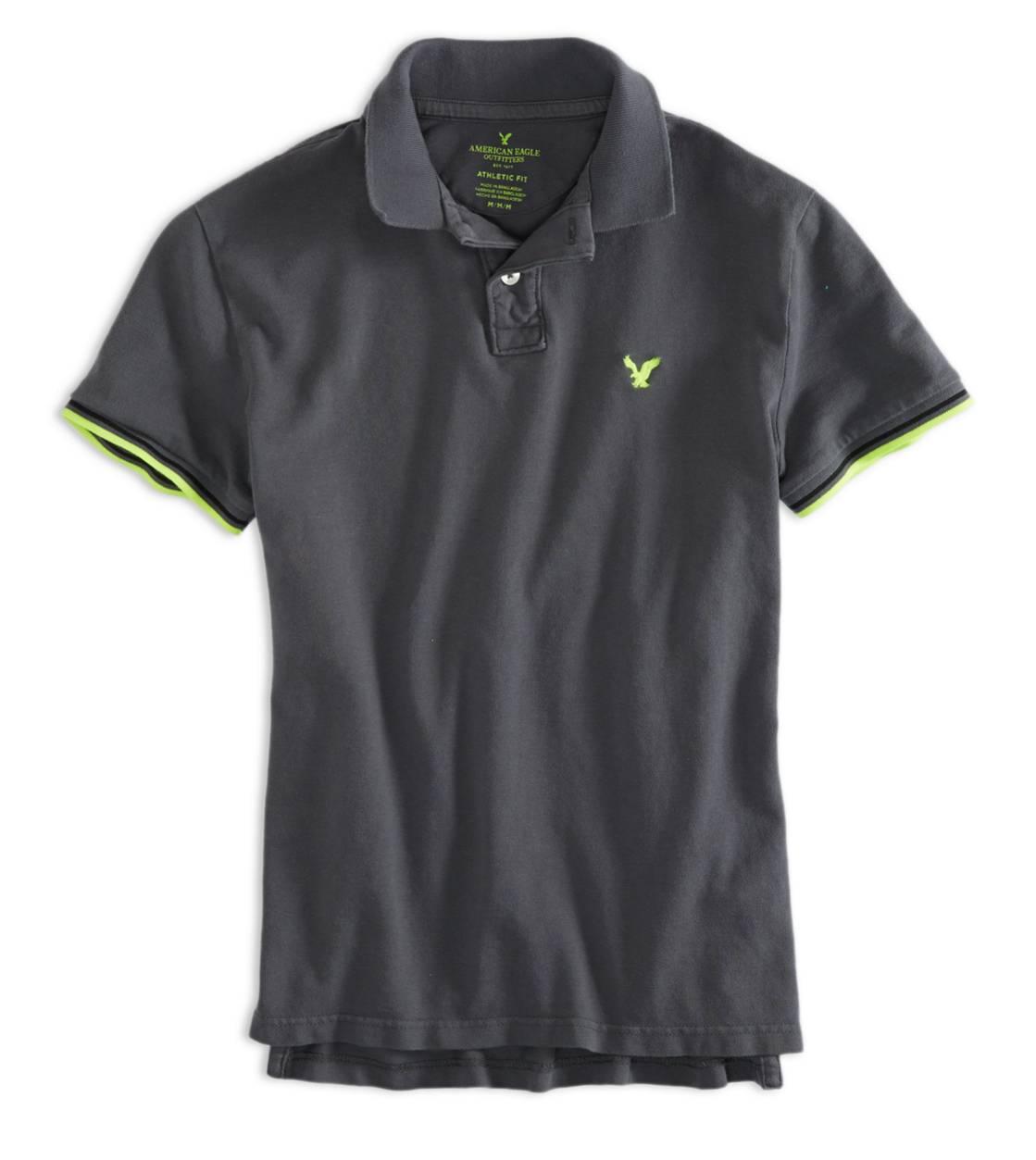 美國百分百【全新真品】American Eagle Polo衫 AE 短袖 上衣 老鷹 灰 素面 Logo 純棉 網眼 男 XS號
