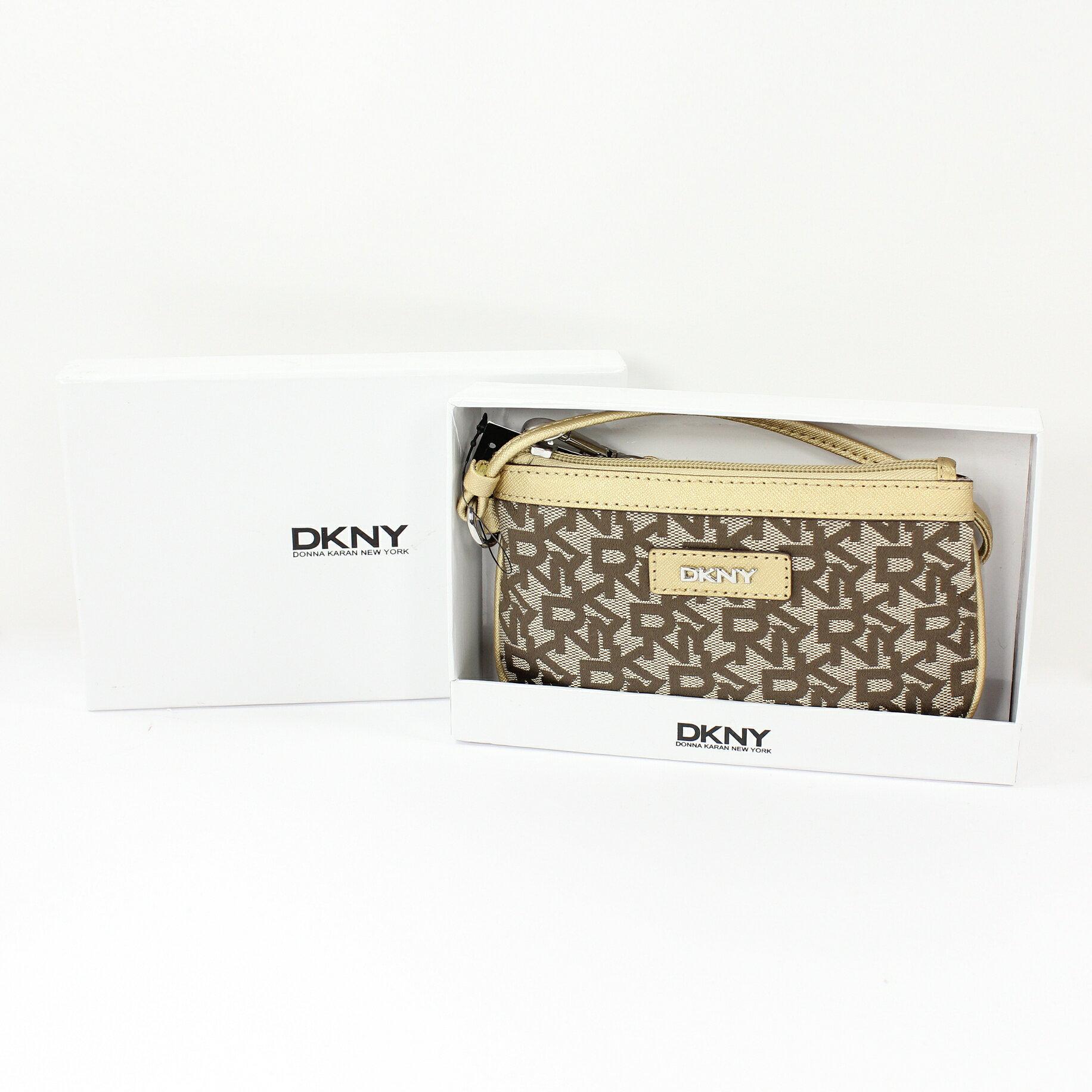 <br/><br/>  美國百分百【全新真品】DKNY 手拿包 金色 手機包 錢包 皮包 提花布 禮盒 皮革 經典 Logo 女包 A693<br/><br/>