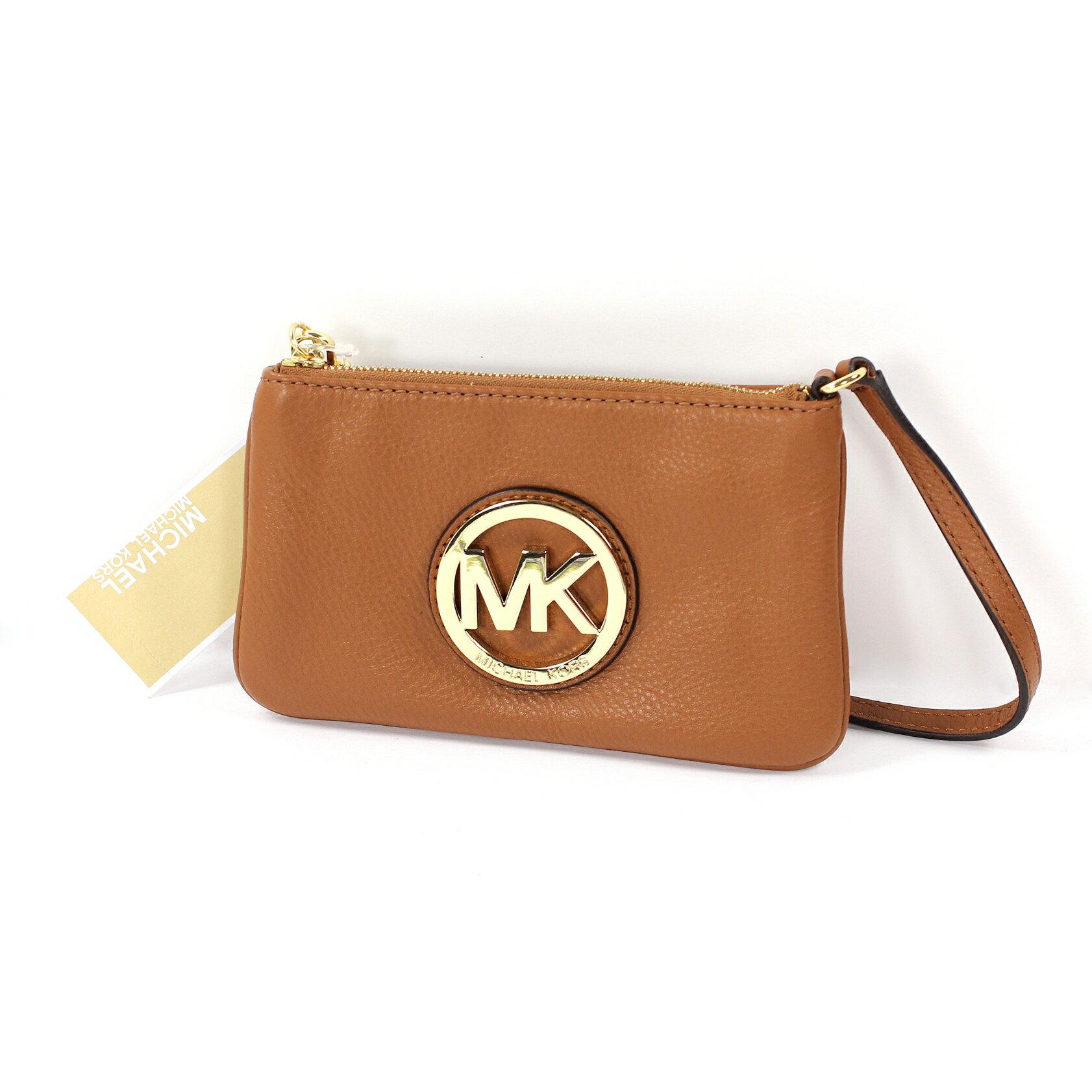 美國百分百【全新真品】MICHAEL KORS 手拿包 MK 手提包 錢包 手機包 皮包 駝色 真皮 女包 A694
