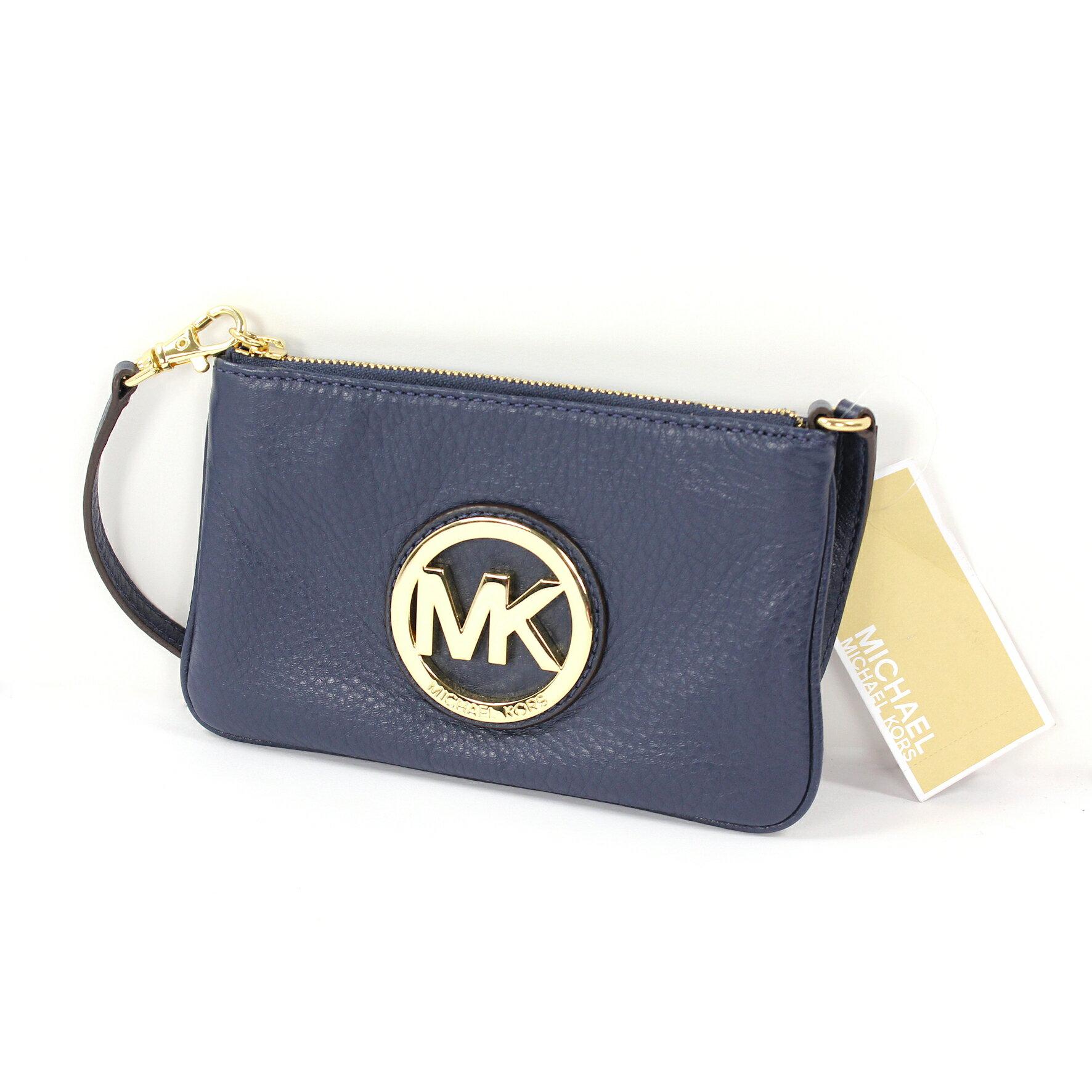 美國百分百【全新真品】MICHAEL KORS 手拿包 MK 手提包 錢包 手機包 皮包 藍色 真皮 女包 A694