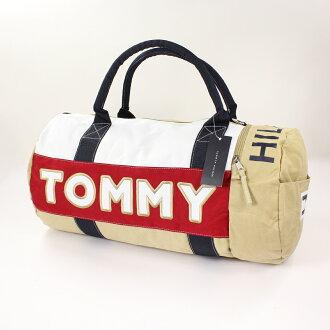 美國百分百【全新真品】Tommy Hilfiger 旅行袋 TH 男包 圓筒包 運動包 出國 卡其 紅Logo 女 A737