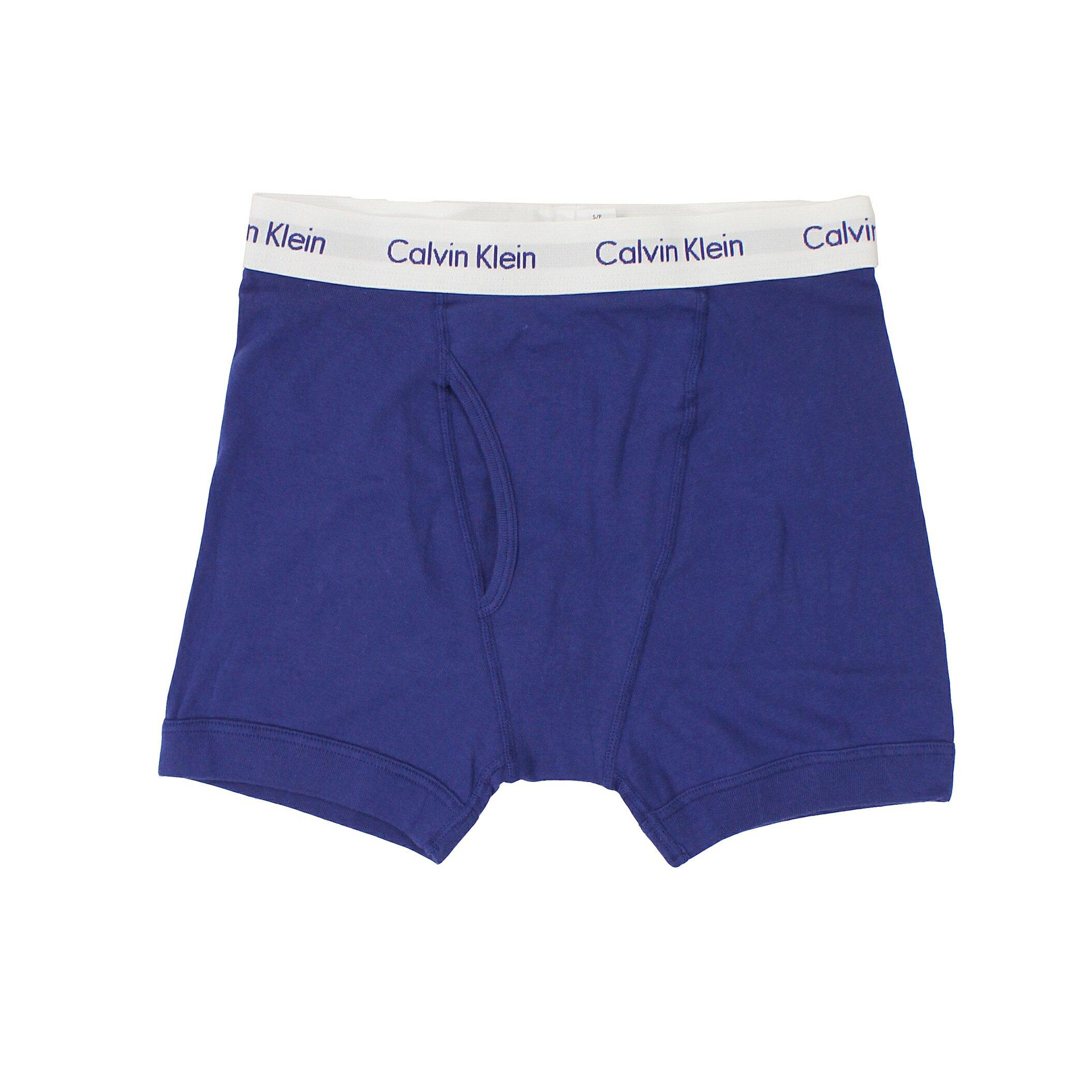 美國百分百【全新真品】Calvin Klein 內褲 CK 四角褲 平口褲 深藍 素面 純棉 男 S號