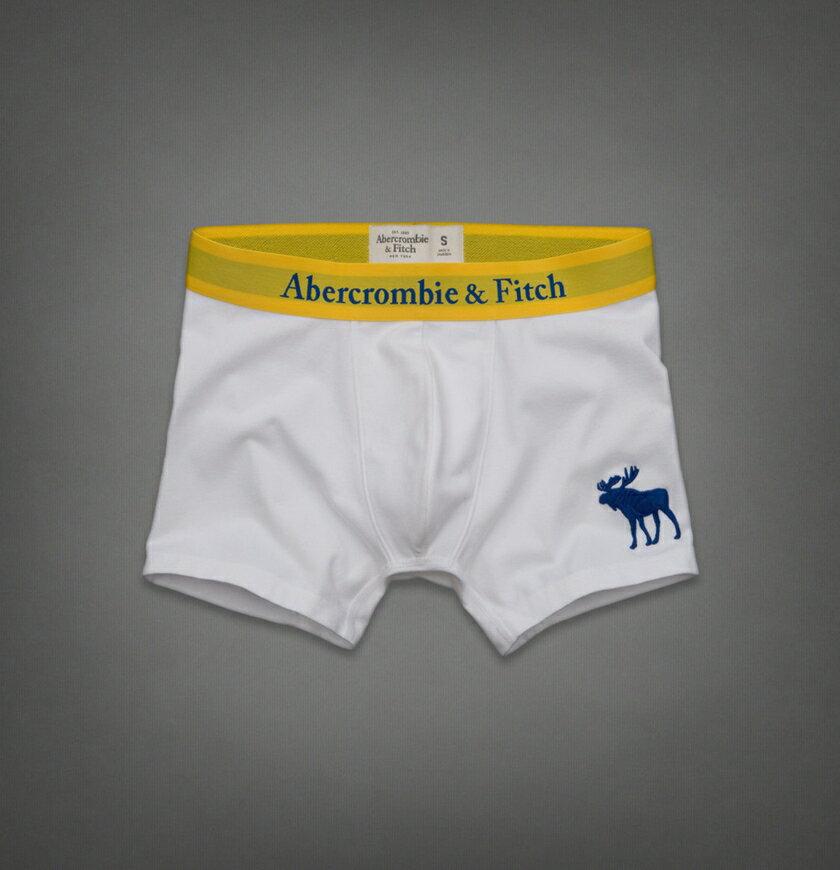 美國百分百【全新真品】Abercrombie & Fitch 內褲 AF 四角褲 平口褲 麋鹿 白 素面 Logo 男 S號