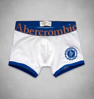 美國百分百【全新真品】Abercrombie & Fitch 內褲 AF 四角褲 平口褲 麋鹿 白 素面 Logo 學院 男 S號