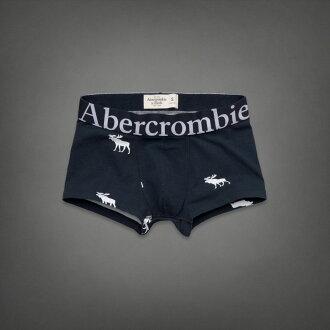 美國百分百【全新真品】Abercrombie & Fitch 內褲 AF 四角褲 平口褲 麋鹿 深藍 棉質 Logo 男 S號