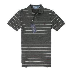 美國百分百【全新真品】Ralph Lauren Polo衫 RL 短袖 上衣 Polo 小馬 灰 條紋 網眼 柔軟 男 XS號