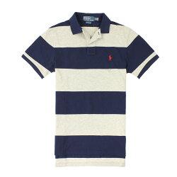 美國百分百【全新真品】Ralph Lauren Polo衫 RL 短袖 上衣 Polo 小馬 灰藍 條紋 網眼 純棉 男 XS號