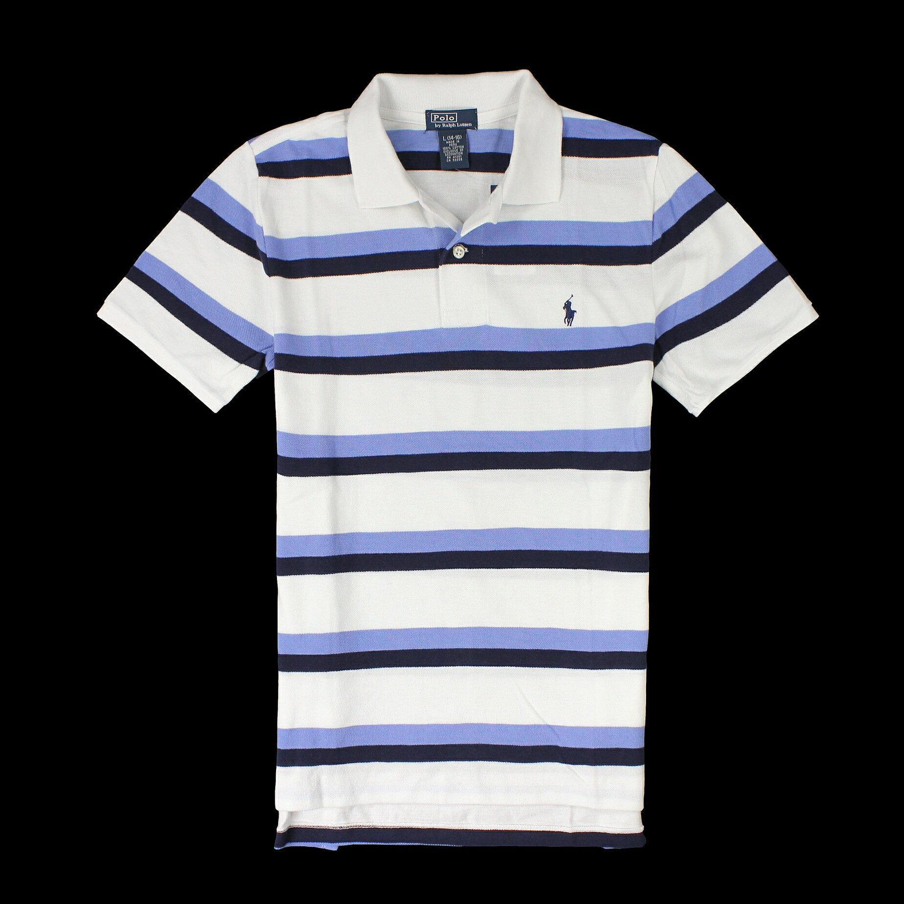 美國百分百【全新真品】Ralph Lauren Polo衫 RL 短袖 上衣 Polo 小馬 白藍 條紋 網眼 男 XS S A782