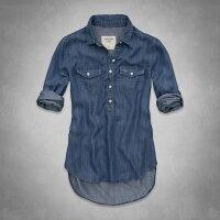 牛仔/丹寧服飾到美國百分百【全新真品】Abercrombie & Fitch 襯衫 AF 長袖 洋裝 長板 上衣 麋鹿 牛仔 藍 女 XS M號