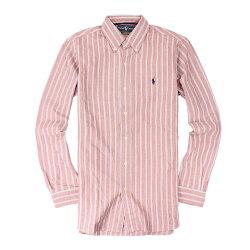 美國百分百【全新真品】Ralph Lauren 襯衫 RL 長袖 休閒 上衣 Polo 小馬 紅藍 條紋 類牛津 男 XS號