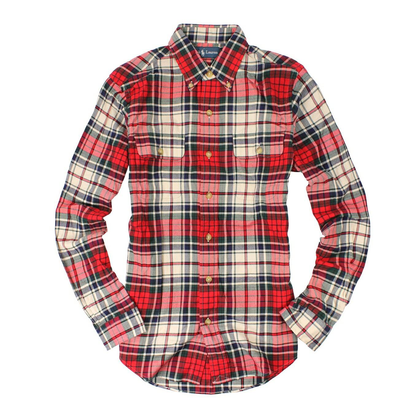 美國百分百【全新真品】Ralph Lauren 襯衫 RL 長袖 上衣 Polo 紅藍綠 格紋 雙口袋 柔軟 男 S L號
