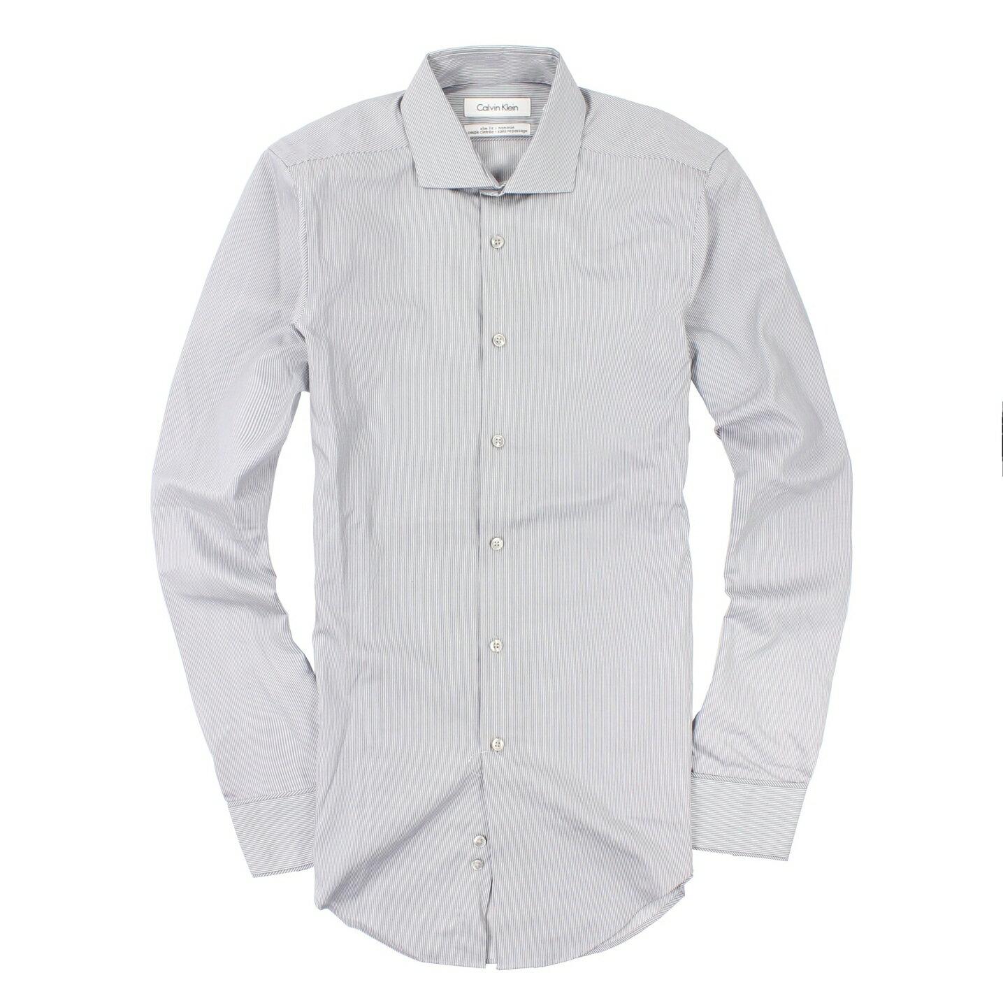 美國百分百【全新真品】Calvin Klein 襯衫 CK 長袖 上衣 上班族 灰 條紋 純棉 商務 男衣 XS L號