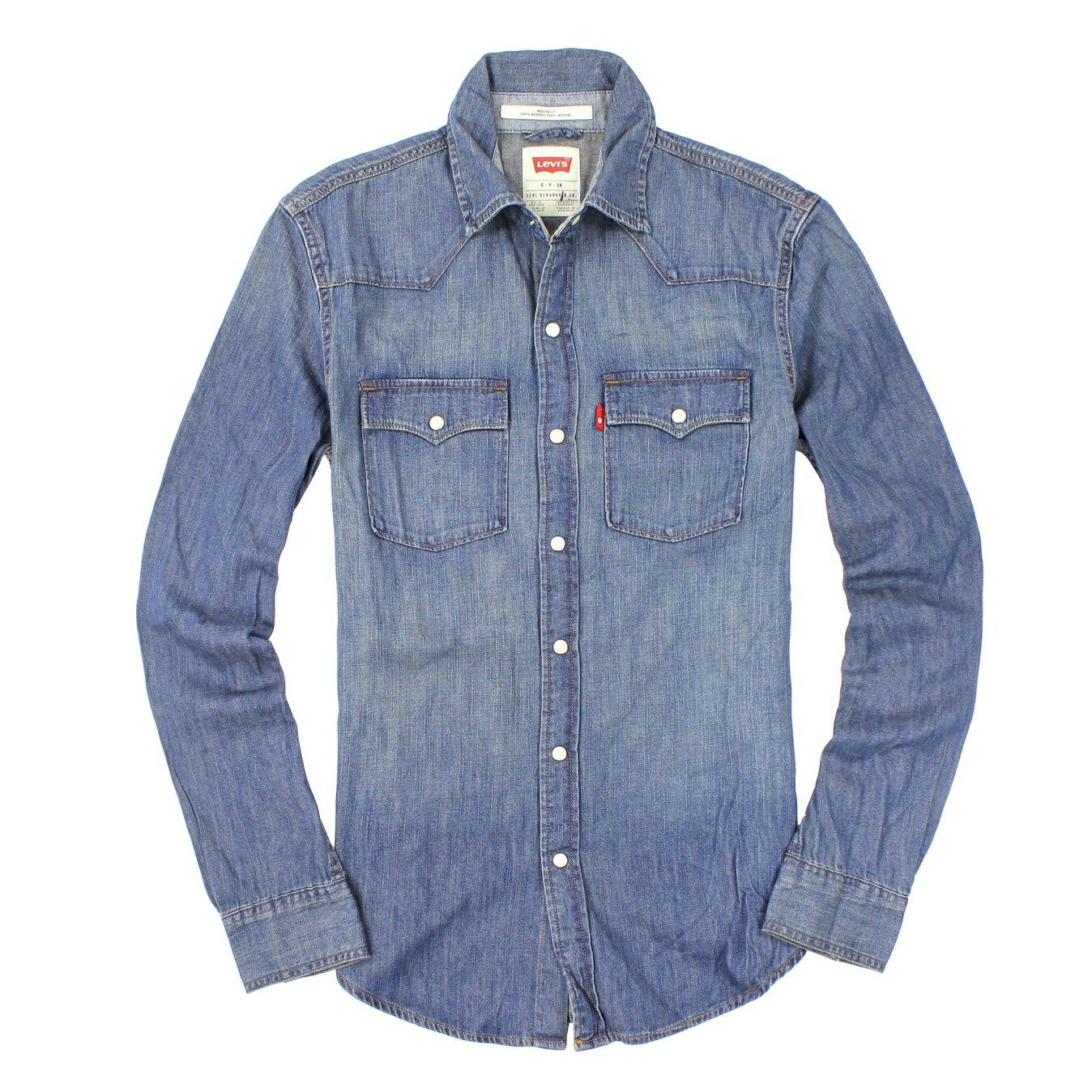 美國百分百【全新真品】Levis 襯衫 牛仔襯衫 長袖 上衣 休閒衫 丹寧 藍 立體 雙口袋 純棉 男 S