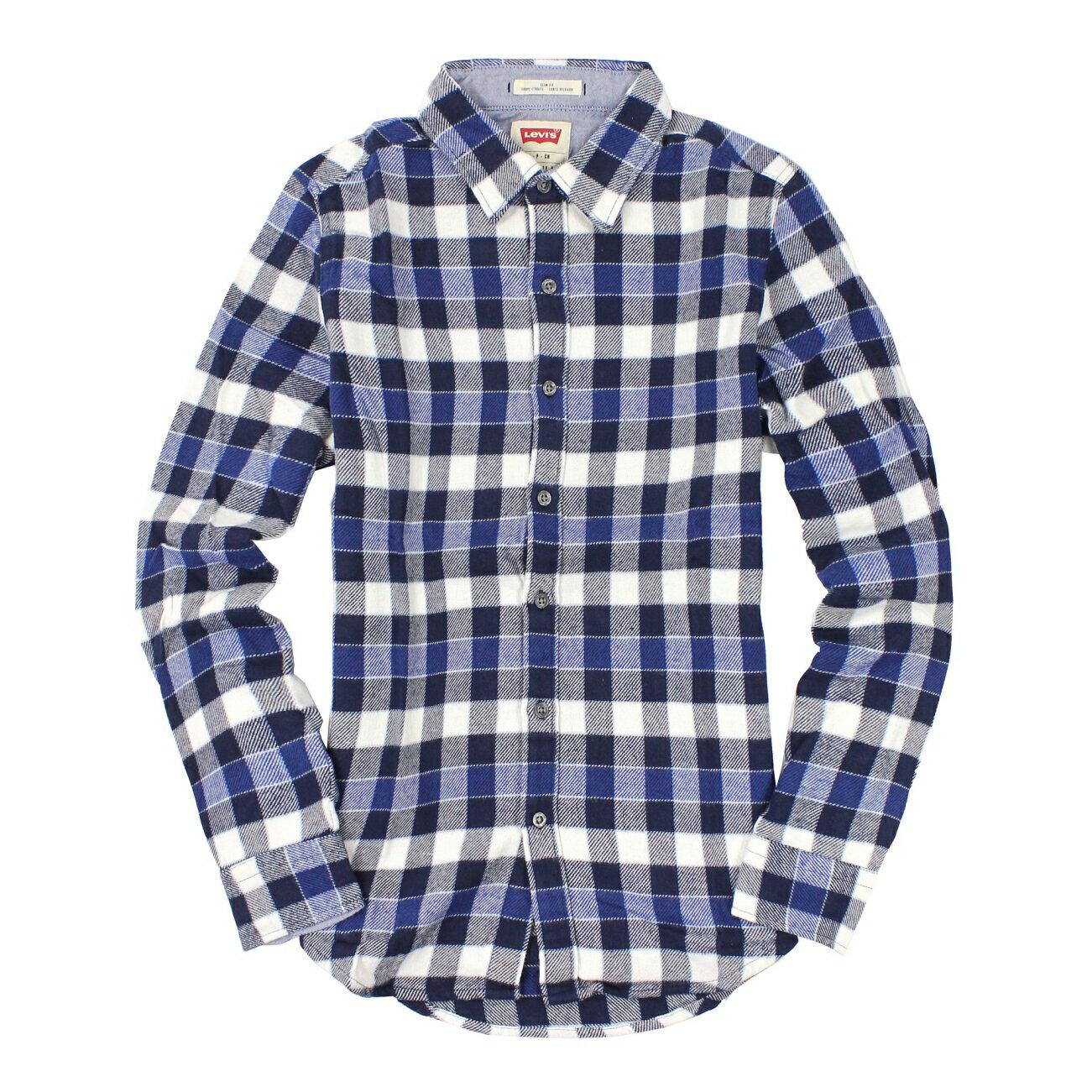 美國百分百【全新真品】Levis 襯衫 長袖 上衣 休閒衫 藍 格紋 毛呢 厚 學院風 純棉 男 XS號