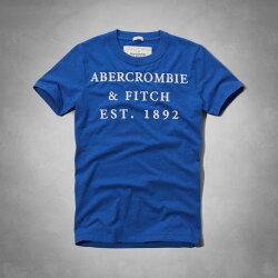 美國百分百【全新真品】Abercrombie & Fitch T恤 AF 短袖 T-shirt 麋鹿 寶藍 文字 刺繡 字母 男 S M號