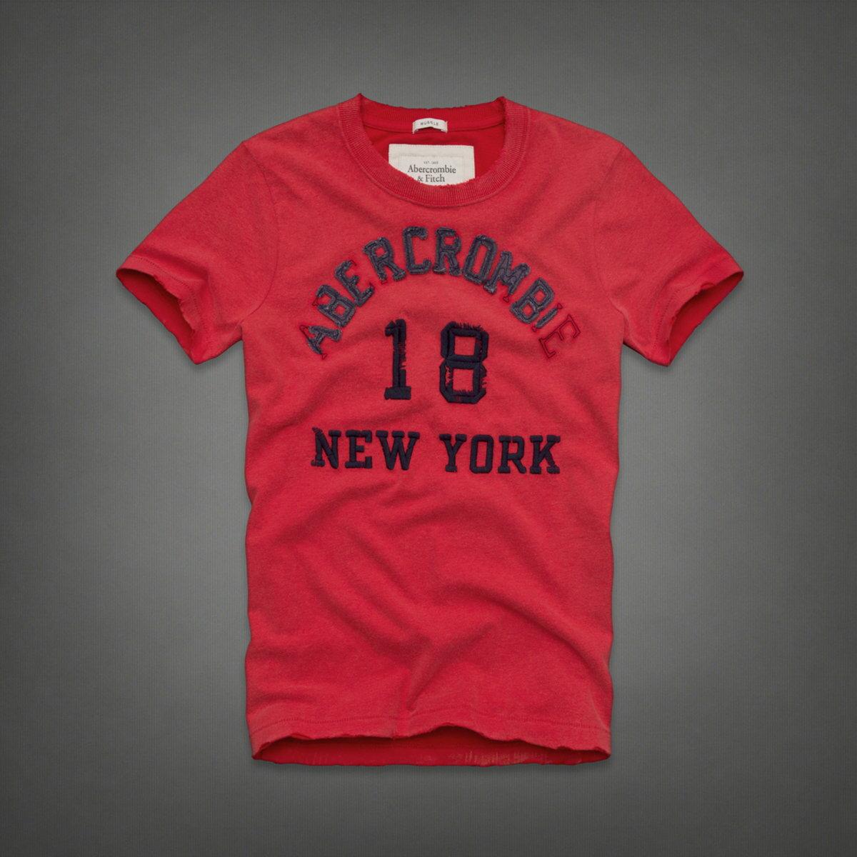 美國百分百【全新真品】Abercrombie & Fitch T恤 AF 短袖 T-shirt 麋鹿 紅 文字 大尺 復古 男 L XL XXL