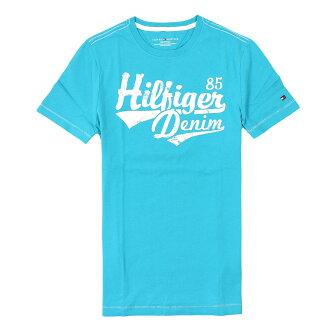 美國百分百【全新真品】Tommy Hilfiger T恤 TH 短袖 T-shirt 上衣 藍 Logo 文字 印刷 男 XS S M