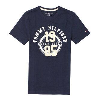 美國百分百【全新真品】Tommy Hilfiger T恤 TH 短袖 T-shirt 深藍 文字 數字 拼布 刺繡 男 XS S號