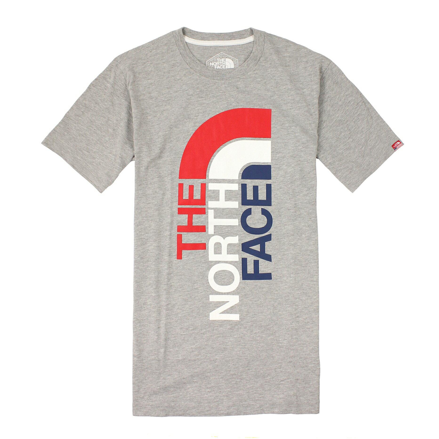 美國百分百【全新真品】The North Face T恤 TNF 短袖 上衣 T-shirt 北臉 灰 Logo 國旗 男 S號