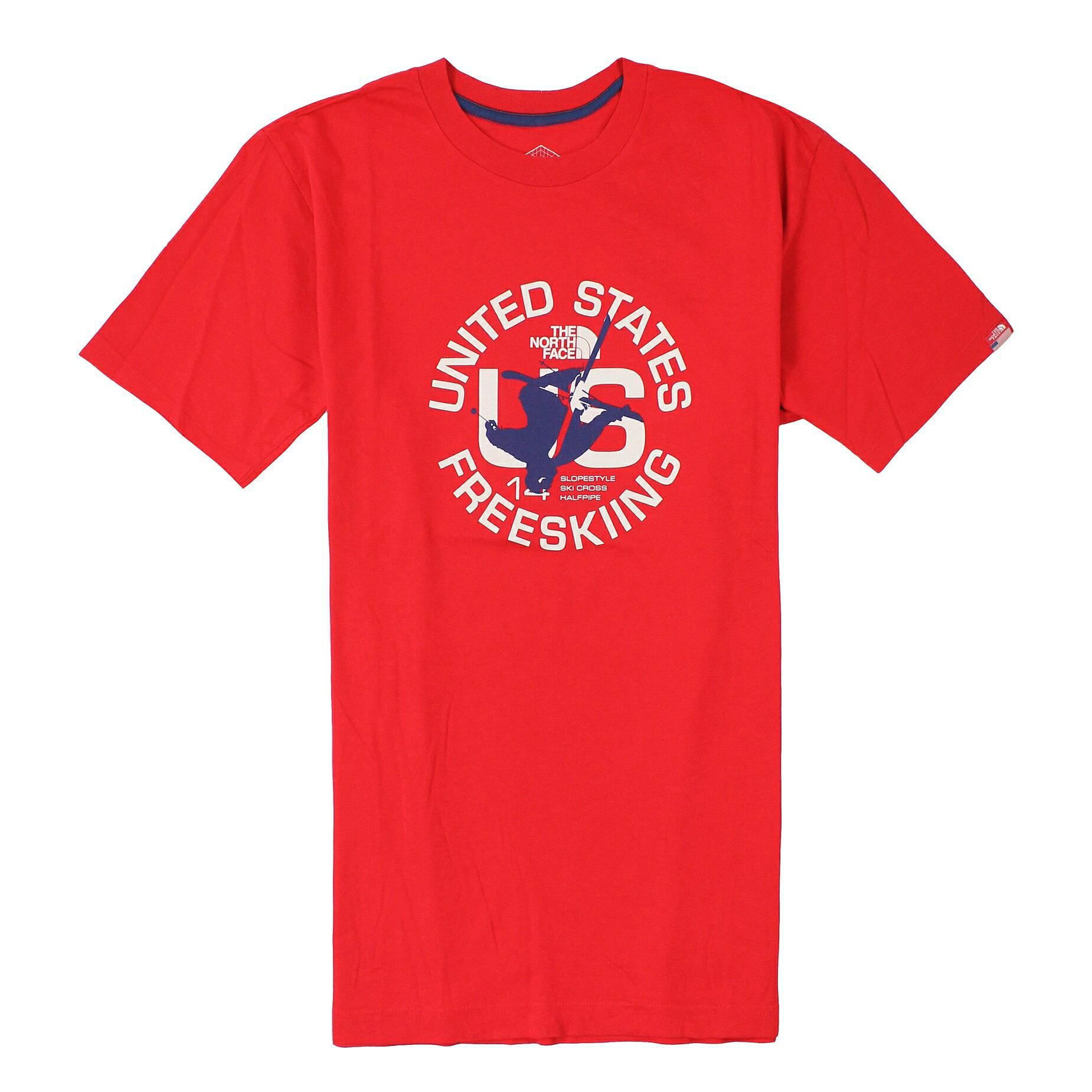 美國百分百【全新真品】The North Face T恤 TNF 短袖 上衣 T-shirt 北臉 紅 人物 國旗 滑雪 男 S M號