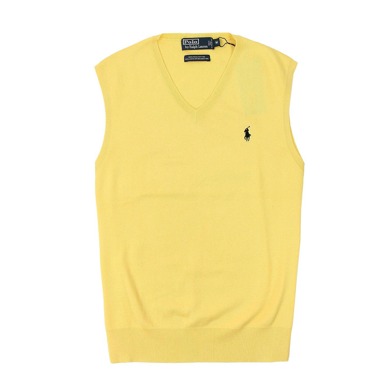 美國百分百【全新真品】Ralph Lauren 針織衫 RL 線衫 背心 Polo 小馬 黃色 素面 V領 純棉 男 M號 B015