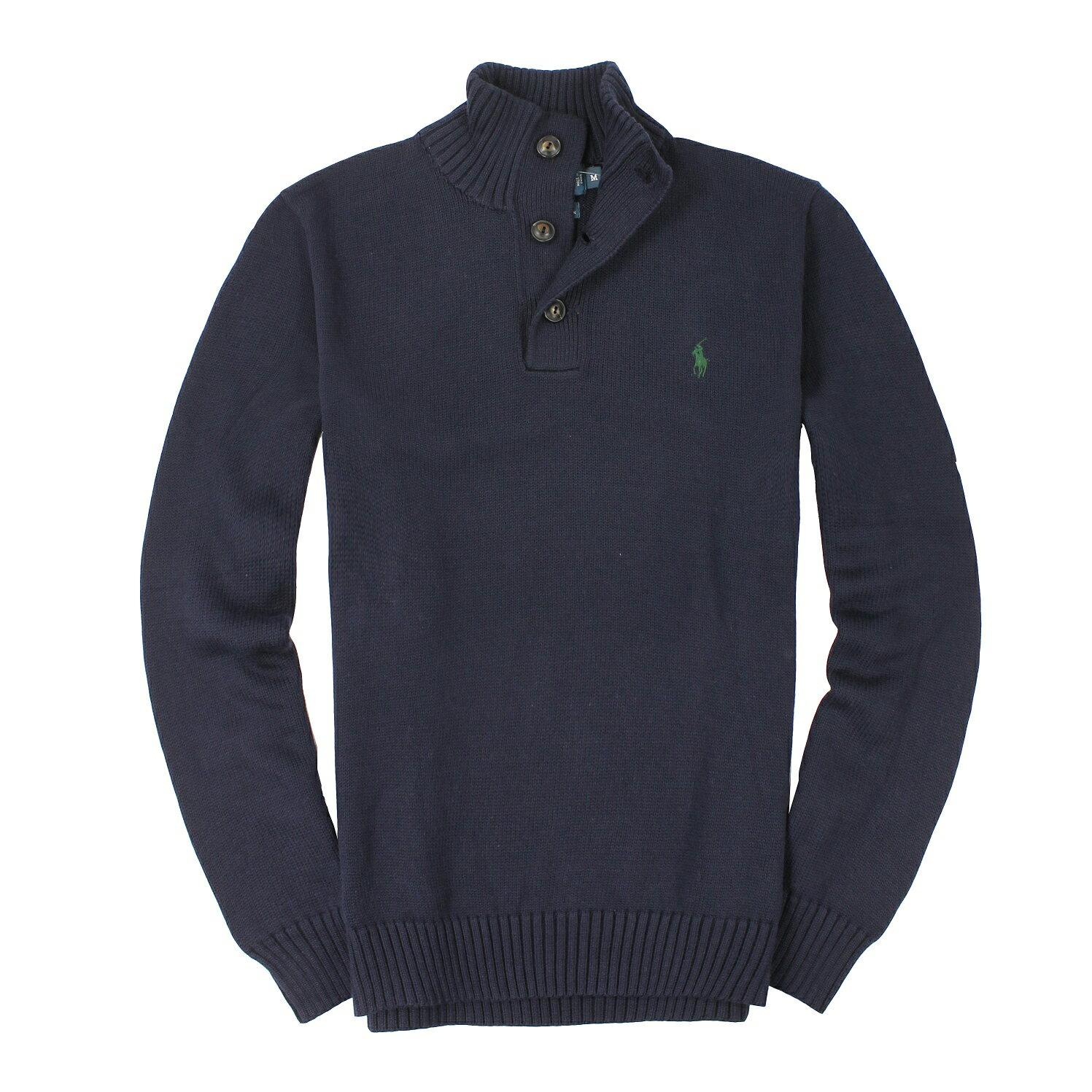 美國百分百【全新真品】Ralph Lauren 針織衫 RL 線衫 Polo 小馬 深藍 半拉 厚棉 鈕扣 男 M號 A068