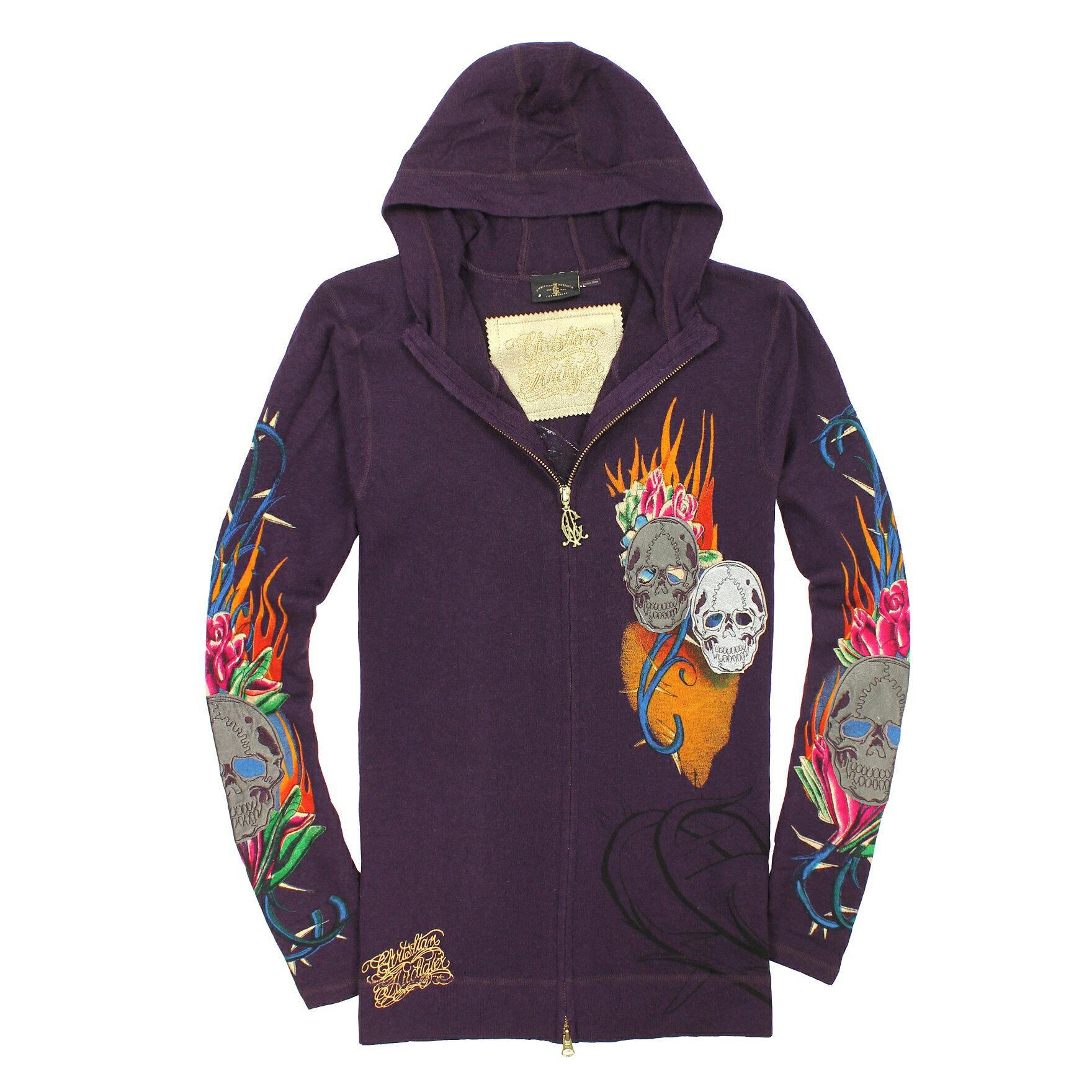 美國百分百【全新真品】Christian Audigier 外套 CA 連帽外套 ED Hardy 紫 刺青 刺繡 專櫃 男 L號 A818