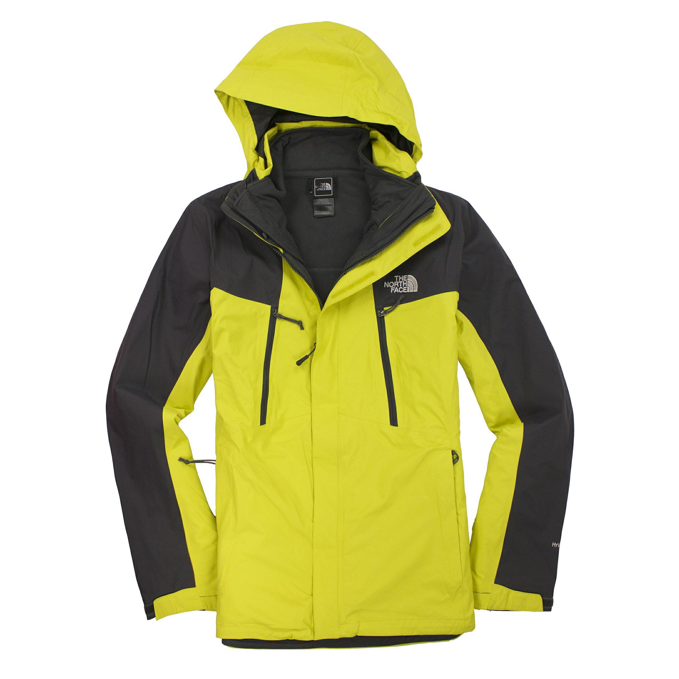美國百分百【全新真品】The North Face 外套 TNF 夾克 連帽 北臉 橄欖綠灰 兩件式 Hyvent 男 S A830
