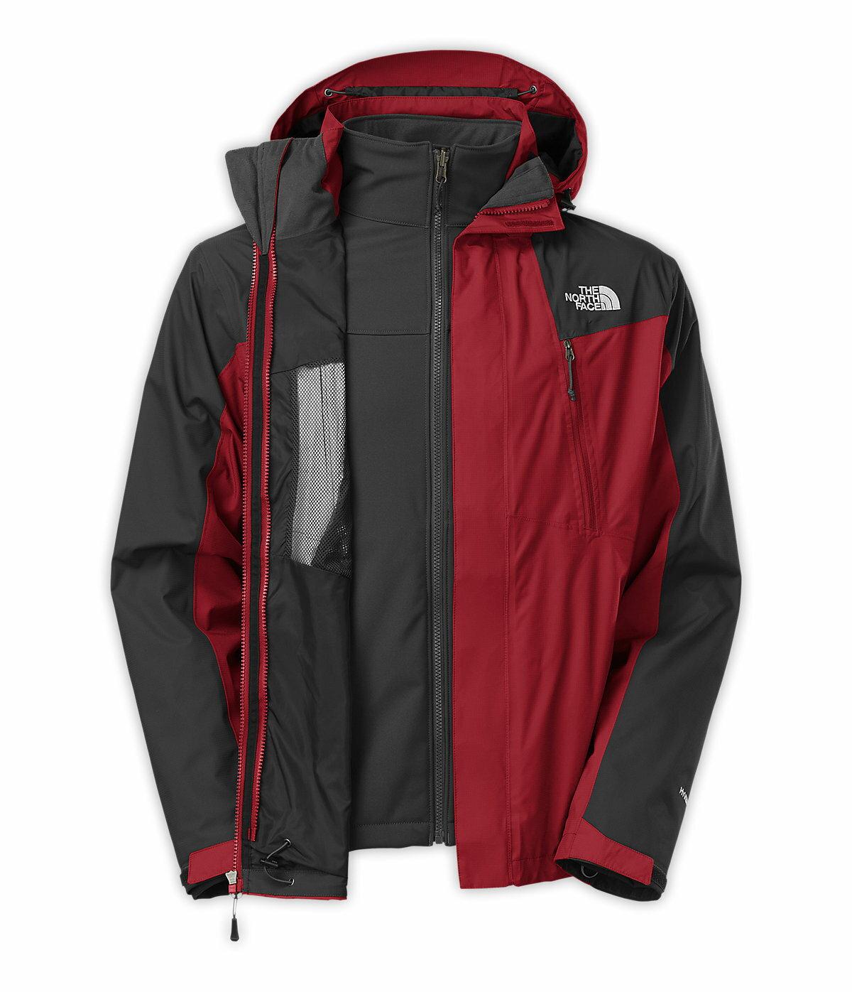 美國百分百【全新真品】The North Face 外套 TNF 夾克 連帽 北臉 酒紅灰 兩件式 Hyvent 男 S號 A830