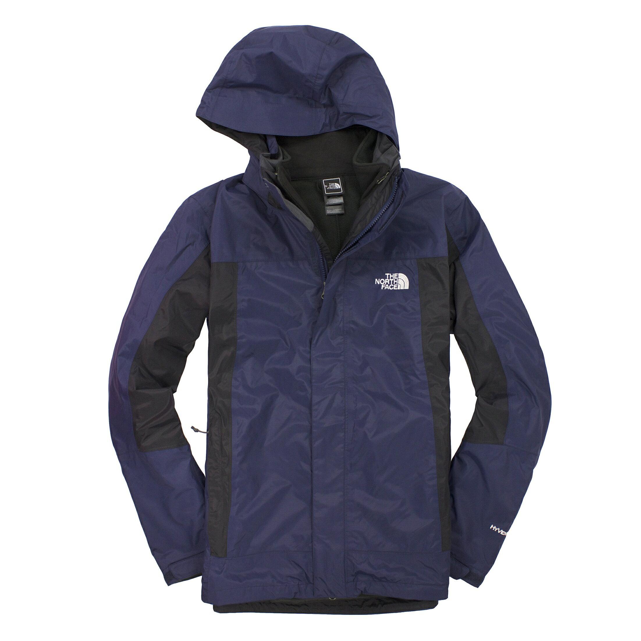 美國百分百【全新真品】The North Face 外套 TNF 夾克 連帽 北臉 深藍黑 兩件式 Hyvent 男 S號 A831