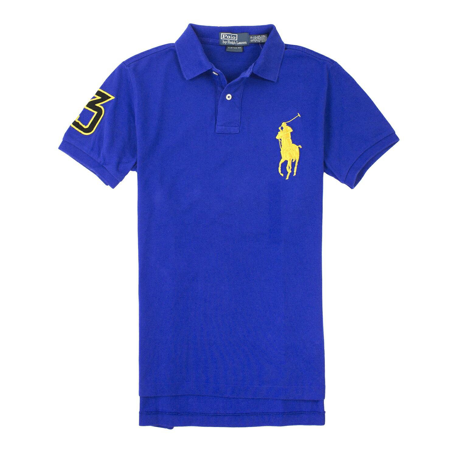 <br/><br/>  美國百分百【全新真品】Ralph Lauren Polo衫 RL 短袖 上衣 Polo 大馬 寶藍 金馬 素面 男 XS L號<br/><br/>