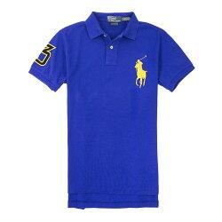 美國百分百【全新真品】Ralph Lauren Polo衫 RL 短袖 上衣 Polo 大馬 寶藍 金馬 素面 男 XS L號