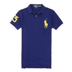 美國百分百【全新真品】Ralph Lauren Polo衫 RL 短袖 上衣 Polo 大馬 深藍 金馬 素面 男 S L號