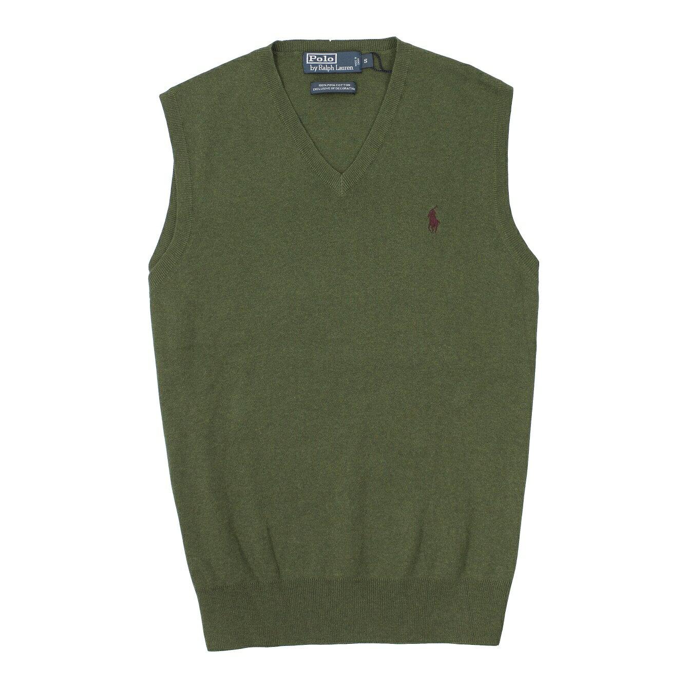 美國百分百【全新真品】Ralph Lauren 針織衫 RL 背心 線衫 上衣 Polo 小馬 軍綠 V領 薄 男 S號 B015