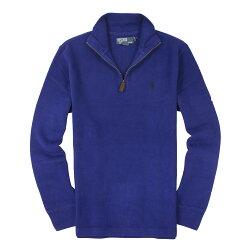 美國百分百【全新真品】Ralph Lauren 針織衫 RL 長袖 線衫 Polo 小馬 寶藍 半拉 麂皮 男 S M號 B027