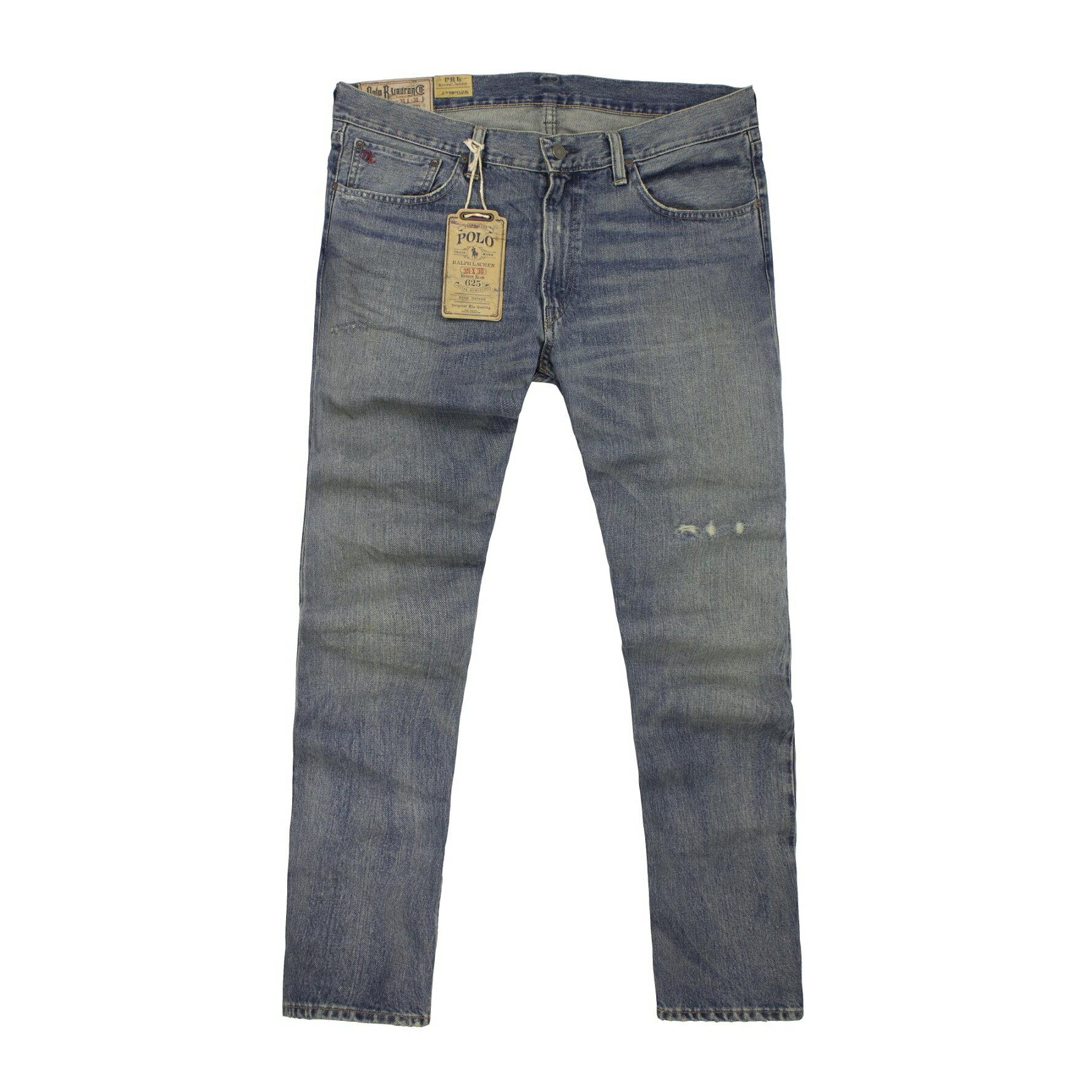 美國百分百【全新真品】Ralph Lauren 褲子 RL 牛仔褲 長褲 休閒 Polo 丹寧 刷白 刷破 窄管 男 35腰