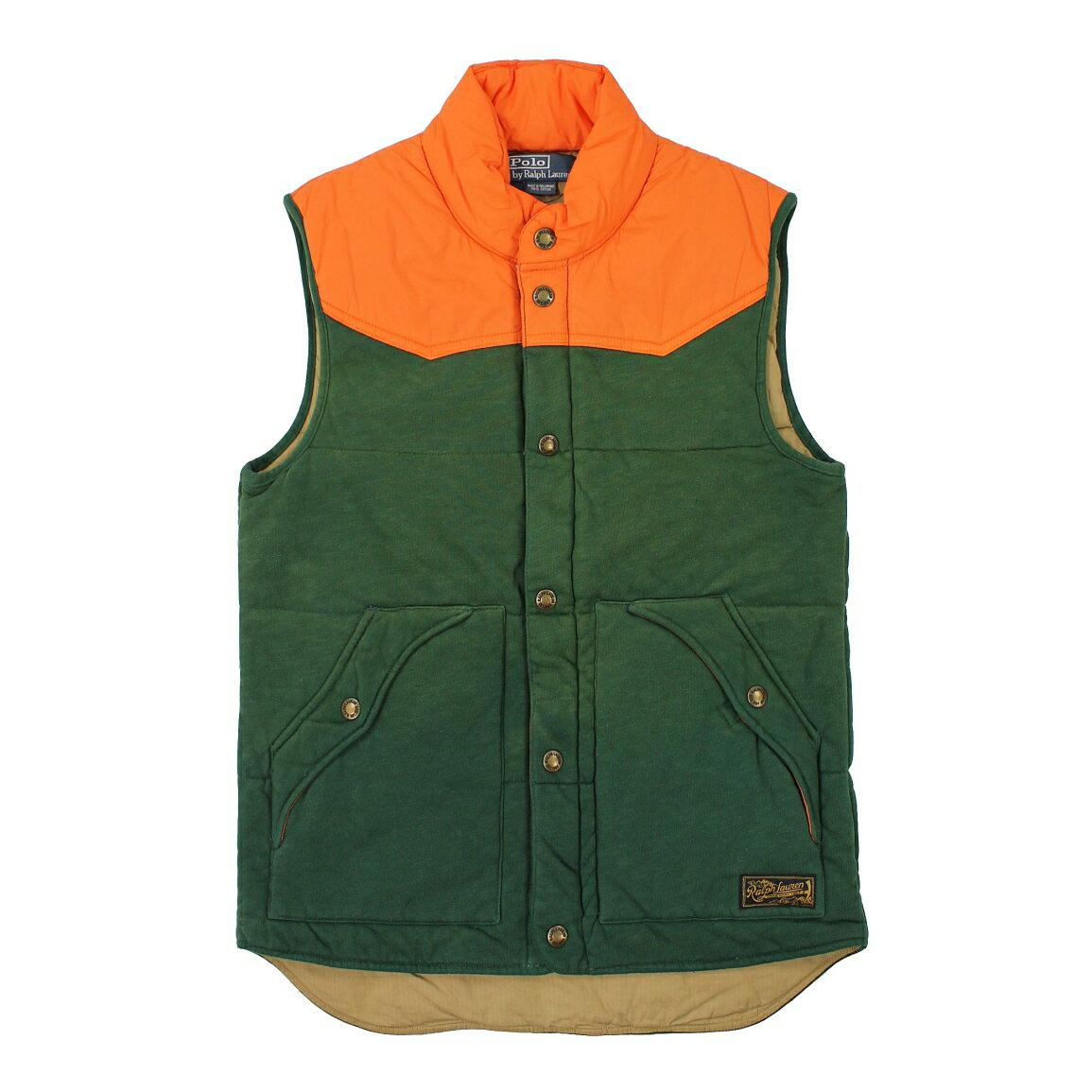 美國百分百【全新真品】Ralph Lauren 背心 RL 外套 鋪棉 Polo 防風 拉鏈 綠 橘 皮革 男 M A866