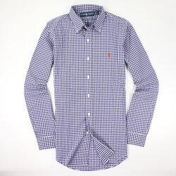 美國百分百【全新真品】Ralph Lauren 襯衫 RL 長袖 上衣 休閒 Polo 小馬 寶藍 薄 格紋 男 S號 E035