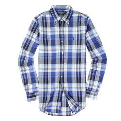 美國百分百【全新真品】Ralph Lauren 襯衫 RL 長袖 上衣 休閒 Polo 小馬 寶藍 春夏 格紋 男 S E038